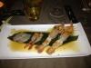 Sashimi di scampi, gamberi rossi di Mazara del Vallo e ricciola in salsa ponzu
